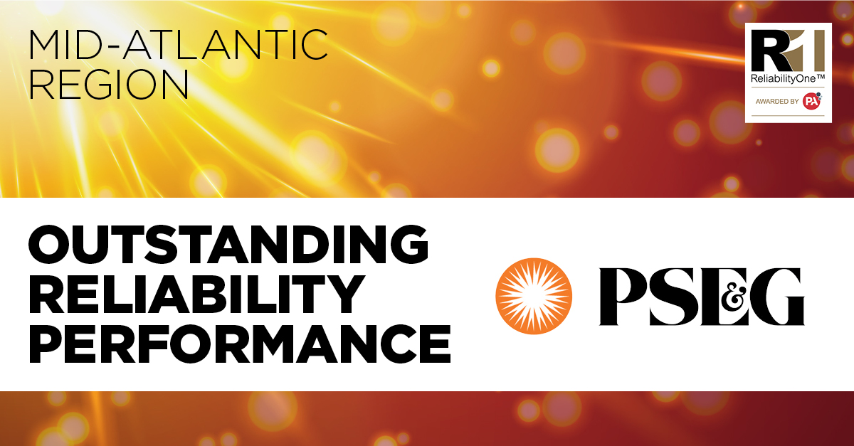PSE&G has been named recipient of the 2019 ReliabilityOne™ Award for Outstanding Reliability Performance in the Mid-Atlantic Region – for the 18th consecutive year.